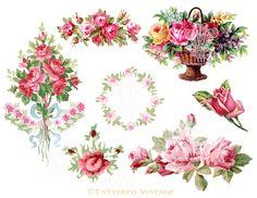 Pink Roses Garland Instant Download no.231 PNG by tatteredvintage