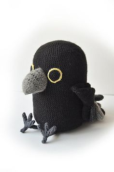 Raven - Large Bird Amigurumi - Crow - Toy - Fantasy - Mythical - CROCHET PATTERN No.121 pattern by Joyce Overheul