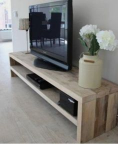 10 DIY TV Stand Ideas You Can Try at Home - TV Stands - Ideas of TV Stands - Do you already have ideas for your weekend project? How about replacing your old TV stand with a new one? You can make these DIY TV stand by yourself! Tv Stand Plans, Room Interior, Interior Design, Diy Tv Stand, Simple Tv Stand, How To Build Tv Stand, 55 Inch Tv Stand, Ikea Tv Stand, Living Room Tv