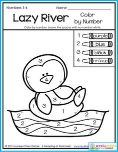 My kindergarten counting worksheets set for July includes summer themes like this lazy river color by number page. Also includes plenty of counting pages, graphing, number tracing 1-01 and more! Please take a moment to check it out! Counting Worksheets For Kindergarten, Summer Worksheets, Graphing Worksheets, Alphabet Tracing Worksheets, Kindergarten Age, Summer Themes, Number Tracing, Writing Lines, Upper And Lowercase Letters