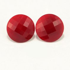 Red Faceted Lucite Button Clip On Earrings 1940s Vtg Jewelry.