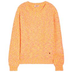 KENZO Neon chunky-knit sweater (2.520 ARS) ❤ liked on Polyvore featuring tops, sweaters, jumpers, outerwear, bright orange, kenzo, orange sweater, chunky knit sweater, drop shoulder sweater and loose tops