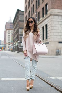 Ballet Pink Off-The-Shoulder. Free People Pink Off-The-Shoulder Sweater // BlankNYC Distressed Faded Jeans // Kate Spade Pink Bag (similar here and here) // NastyGal Sunglasses // Charlotte Olympia 'Dolly' Pumps (similar here)