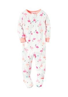 Carters White Fleece Flamingo Zip-Up Sleep  Play