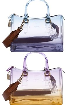 Candy bag from Furla Clear Handbags, Tote Handbags, Purses And Handbags, Clear Tote Bags, Clear Plastic Bags, Fashion Handbags, Fashion Bags, Jelly Bag, Transparent Bag