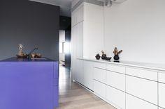 Küche mit Mittelblock und Einbauschrank