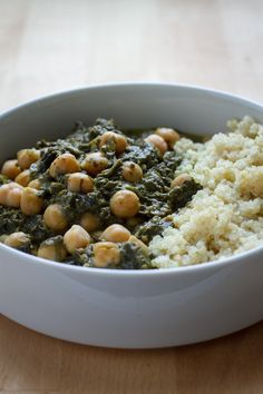 Slow Cooker Chana Saag... A possible at home substitute until we find a place with good Saag Paneer