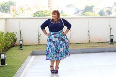 Body plus size strappy e saia midi estampada Kiss Flower