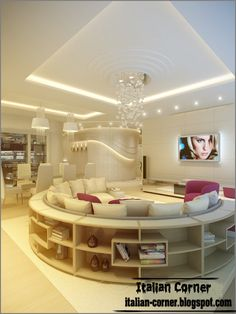 Italian living room interior design with unique round sofa and bookcase with modern ceiling