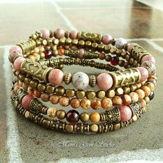 Gemstone Wrap Around Beaded Memory Wire Bracelet por mamisgemstudio