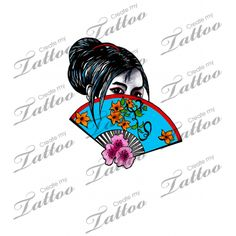 Marketplace Tattoo Geisha girl with blue fan #17028 | CreateMyTattoo.com