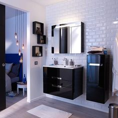 Aqualuna meuble salle de bain simple vasque 80 cm avec 2 tiroirs