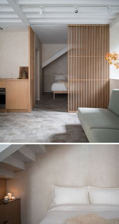 This minimalist bedroom is somewhat hidden behind a sliding wood slat screen, conserving space and creating a secluded sleeping area. Small Rooms, Small Apartments, Blacksmith Workshop, Wood Slats, Wood Slat Wall, Minimalist Bedroom, Bedroom Decor, New Homes, Interior Design