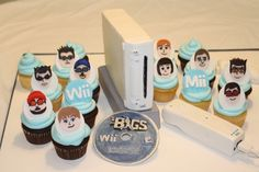 Love this Wii Mii cake and cupcakes! Video Game Party, Party Games, Wii Party, Cupcake Cakes, Cupcakes, Soup Crocks, Ground Turkey Recipes, Slow Cooker Beef, Healthy Crockpot Recipes