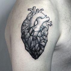 tatuagem de coração geometrica - Pesquisa Google