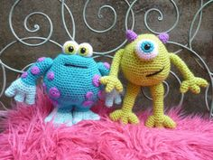 Horace and Gary.  Amigurumi Crochet Pattern.    Horrid Horace and Scary Gary are monster brothers bursting with mischief. Thats a very naughty