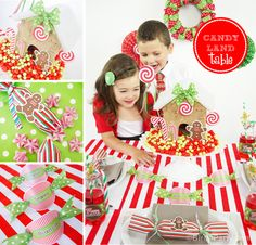Party Printables | Party Ideas | Party Planning | Party Crafts | Party Recipes | BLOG Bird's Party: Kids' Holiday Table - Part 1: Candyland Table + FREEBIES