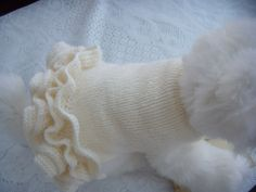 dog sweater pet clothes  cream with lots of frills by CUTIEDOG, £12.00