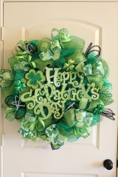 Happy St. Patrick's Day Deco Mesh Wreath by FlowersToEnvy on Etsy, $120.00