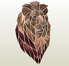 Papercraft .pdo file template for Animal - Mosaic Lion.