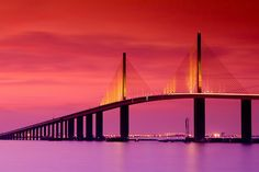 Tampa, Florida — View of Sunshine Skyway Bridge. Courtesy of Tampa Bay & Company. I have walked this bridge and 60 more miles of this beautiful place . Beautiful place to visit! Visit Florida, Old Florida, Tampa Florida, Florida Vacation, Florida Travel, Florida Beaches, Kissimmee Florida, Florida Girl, Vintage Florida
