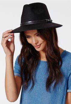 Saci Braid Leather Trim Fedora Black - Hats, Scarves and Gloves - Missguided