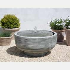 Low Profile Modern Round Girona Outdoor Water Fountain. Cast stone. Kinsey Garden Decor