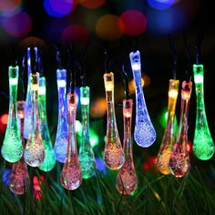 Solar Outdoor String Lights 20ft 30 Led Water Drop Fairy Waterproof Christmas