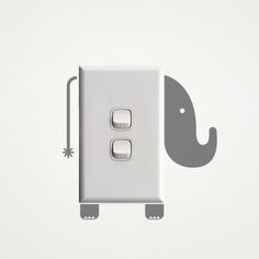 Little elephant wall sticker for creative power sockets and light switches!  The elements of the wall sticker are separate pieces and you will be able to arrange them according to the size of your power socket or light switch.