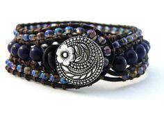Cuff Bracelet with Dark Violet and Iridescent Purple Beads