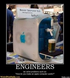 Some crazy nutjob (read: genius) Mac fan has developed the computer of my dreams, the Apple Beer Server. Now from the picture you can tell that it serves beer, which is all a computer really needs to do. Mac Pro, Funny Images, Funny Pictures, Funny Pics, Computer Humor, Computer Diy, Computer Literacy, Engineering Humor, Mechanical Engineering