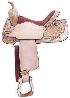 "Custom Barrel Saddle Tree: Full Quarterhorse bars - 5 Year Warranty. CJ Pro Barrel Racer bullhide covered wooden tree - Seat: 14"" - 16"" (half sizes included) Suede padded seat. - Swell: 13"" Undercut."