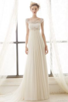 ir de bundo bridal 2015 liz illusion cap sleeve wedding dress empire waist drape a line skirt