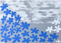 Dekostoff kleine Strandhäuser blau//rot Canvas