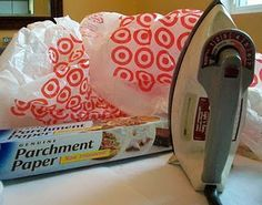 I've fused plastic bags together before but didn't use parchment. Good tutorial. Ideas: Picnic mat, bibs, other thoughts?