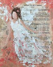 Angel Paintings Special Order Angel Paintings S… - Art ideas Mixed Media Painting, Mixed Media Collage, Mixed Media Canvas, Collage Art, Mixed Media Journal, Mixed Media Artwork, Art Journal Inspiration, Painting Inspiration, Angels Among Us