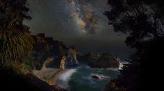 night, the milky way, stars, shore, the beach, sea