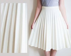 Vintage 70s Skirt Winter White Pleated Skirt White Skirt Long Midi ...