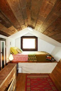Cozy attic nook - great place for a comfy chair/table/lamp reading area.