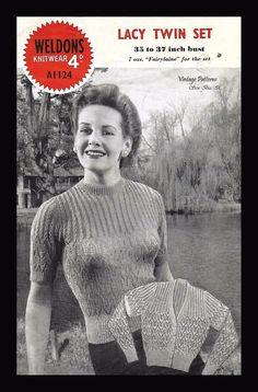 Weldons A1124 1940's Knitting Pattern Lacy Twin Set Jumper & Cardigan  PDF WWII  #Weldons