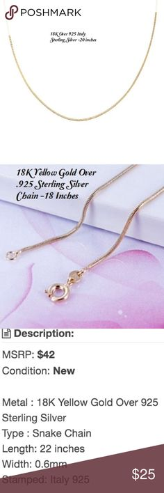 """Coming Soon!  Like to be notified. 18k yellow gold over .925 Sterling Silver Chain. 18-22"""" in length. (I will measure when it comes in.). Expecting it to arrive around June 30.  MSRP-$42 Jewelry Necklaces"""