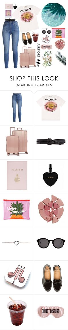 """""""Airport style"""" by bartivana ❤ liked on Polyvore featuring Gucci, CalPak, Isabel Marant, Mark Cross, Katie Loxton, Sunnylife, Charlotte Tilbury, Thierry Lasry, PhunkeeTree and BaubleBar"""