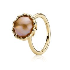 PANDORA   Gold ring, golden mabe cultured pearl