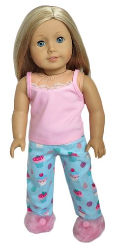 American Girl Doll Clothes - Silly Monkey - Pink and Blue Flannel Cupcake Pajamas, $14.99 (http://www.silly-monkey.com/products/pink-and-blue-flannel-cupcake-pajamas.html)