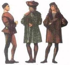 L'abito maschile si componeva di tre parti :le uose (specie di lunghe calze attillate),il farsetto e il mantello.Le camicie più o meno ricamate che con i polsini che uscivano dai tagli del farsetto e dai tagli dei pantaloni e se tutto questo abbigliamento si usavano piccoli grandi mantelli di stoffe più o meno preziose. Gli uomini portavano i capelli corti o lunghi fino alle spalle e cappelli con lunghe code e larghe falde.