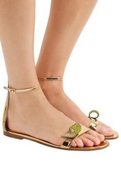 7ec2f504a3b471 GIANVITO ROSSI Crystal-embellished metallic leather sandals Leather Buckle