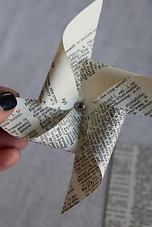 diy pinwheel...love anything made with old book pages