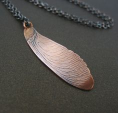 Copper Maple Seed Necklace Botanical Jewelry by tigerlillyshop, $36.00
