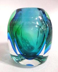 Large Blue Green Crystal Vase