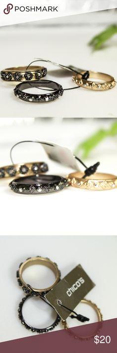 Chico's Celia Ring Set of 3 Size 9 NWT Chico's Celia Ring Set of 3 Size 9 NWT Chico's Jewelry Rings